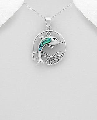 925 Sterling Silver Pendant & Chain, Featuring Dolphin Decorated With Abalone Stone Shell